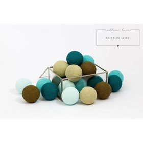 Cotton shining LED balls Cotton Balls - turquoise, cotton love